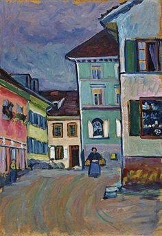 (Vasilij Vasil'evič Kandinskij) Wassily Kandinsky - 'Murnau Top of the Johannisstrasse' - (1908)