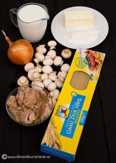 SPAGHETTI CU TON SI CIUPERCI   Diva in bucatarie Spaghetti, Veronica, Diva, Eggs, Breakfast, Food, Morning Coffee, Meal, Egg