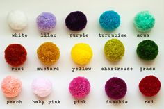 Yarn poms by color