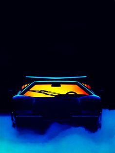 "flight-time: "" Countach for Pirelli "" Retro Kunst, Retro Art, 80s Neon, Neon Noir, Neon Nights, Neon Purple, Retro Waves, Retro Aesthetic, Retro Futurism"