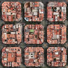 Classical Eixample Cerdà grid with the interior courtyards chaotically parcelled to gain the maximum buildable area