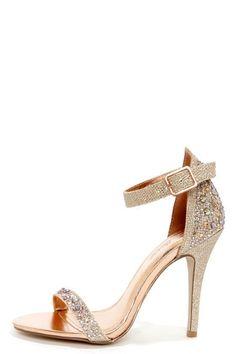Anne Michelle Enzo 78 Rose Gold Rhinestone Ankle Strap Heels at LuLus.com! #promheelssparkly