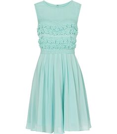 Lemine Floral Embroidered Dress Light Turquoise $340.00 www.reiss.com