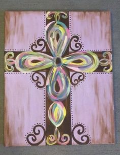 mermaids painted canvas on pinterest | Hand Painted Cross on Canvas | crafting