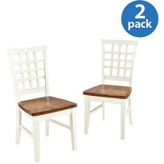 Imagio Home Arlington Lattice Back Dining Chairs, Set of 2, White and Java (need 2 of these sets)