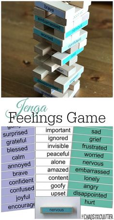 This Jenga Feelings Game is perfect for parents or therapists to use to help kids talk about their emotions and experiences.