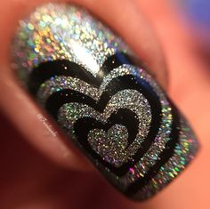 "Holo macro by @twinbambi(FB) using our I ""Heart"" Swirls Nail Vinyls found at snailvinyls.com"