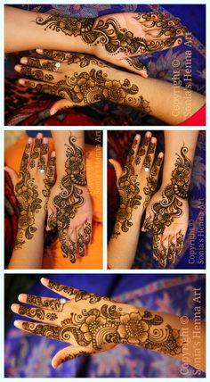 Copyright © Sonia's Henna Art   colorful Flowery  mehndi design - for a simpler look.