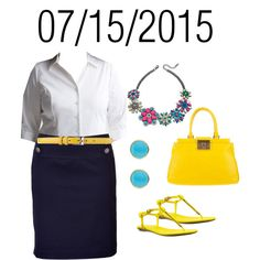 White Button-Down Shirt with Navy Skirt, Yellow Belt, Sandals, and Purse: Wednesday, July 15, 2015 by josiegirl77 on Polyvore featuring Lane Bryant, Steffen Schraut, Bakers, Tory Burch, Jamie Joseph and Phase Eight