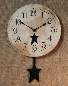 primitive wall clock | star clock with pendulum black hand made in the usa this unique clock ...