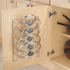 Take a look at this Classico Cabinet Lid Rack today! Kitchen Pantry Design, Kitchen Organisation, Kitchen Cabinet Storage, Modern Kitchen Design, Home Decor Kitchen, Storage Cabinets, Interior Design Kitchen, Kitchen Furniture, Home Kitchens