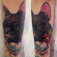 Dog Tattoo by Andrzej Lipczyński (instagram @_lipa_) Puppy Pictures, Cute Pictures, Puppy Pics, Dog Kennel Flooring, French Bulldog Tattoo, Ink Color, Colour, Dog Tattoos, Skin Art