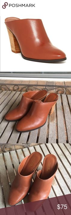 """Kate Spade Saturday Tan Leather Mules Kate Spade Saturday Tan Leather Mules. Absolutely stunning! Great shape! Tan leather uppers. Round toe. Slip-on. Stacked heel. Approx. 3"""" heel. Brown, camel, slide on, Clog. kate spade Shoes Mules & Clogs"""