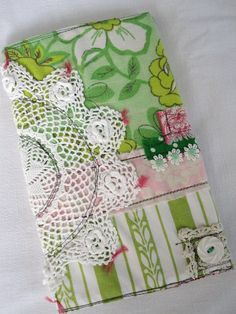 stitched journal cover with doilie