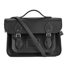 The Cambridge Satchel Company Women's 13 Inch Magnetic Batchel - Black ($195) ❤ liked on Polyvore featuring bags, handbags, shoulder bags, genuine leather purse, leather bag satchel, leather satchel bag, leather shoulder bag and leather satchel purse