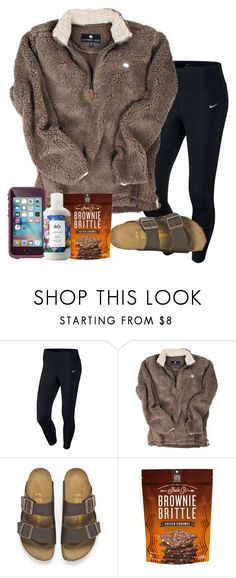 """""""Just got back from camp read d !"""" by wander-krn ❤ liked on Polyvore featuring NIKE, Birkenstock and R+Co"""