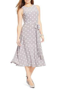 Lauren Ralph Lauren Polka Dot Jersey Belted Fit & Flare Midi Dress available at #Nordstrom