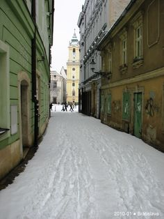 Snowfall in the old town Bratislava Slovakia, Old Town, Winter Wonderland, Old Things, Europe, Dreams, World, Travel, Old City