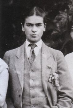 Frida Kahlo is about seventeen in these family photographs taken by her father, Guillermo Kahlo, circa 1924. Frida is dressed as a boy in shirt, tie and three-piece suit, she is playing a role, flouting convention. Frida is also challenging the viewer's notion of gender.