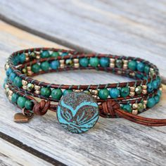 Turquoise Wrap Bracelet, Wrap Bracelet, Boho Bracelet, Leather Wrap Bracelet, Beaded Leather Wrap, Butterfly Button, Butterfly…