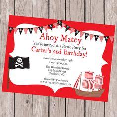 Birthday Party Invitation Pirate Invitation by CarouselPrintables, $12.00