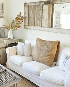 """""""I really love decorating for Fall...mostly with simple, easy and natural changes. On this sofa, I added a French burlap sack as a pillow slip. Paired with…"""""""