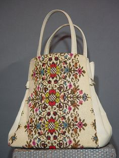 Vintage 60s Cream Carpet Tote 1960s Ivory Vegan by mustangannees, $64.00