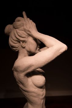 Bonded marble (cast resin) Sculptures of females by artist Wesley Wofford titled: 'Beauty Mask (nude Naked Girl Young Woman Torso life size statue)'