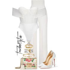 A fashion look from August 2017 by iamtaecarter featuring Yves Saint Laurent, Christian Louboutin, Gucci, Cartier and Annello Office Fashion, All Fashion, Passion For Fashion, Plus Size Fashion, Fashion Looks, Fashion Outfits, All White Party Outfits, Casual Outfits, Sophisticated Style