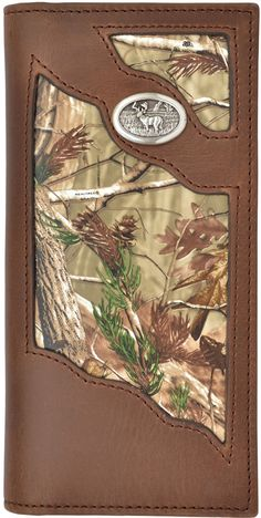 Mens Badger Brown Outdoor Rodeo Elk Brown Camo Leather Wallet Checkbook 27BW452