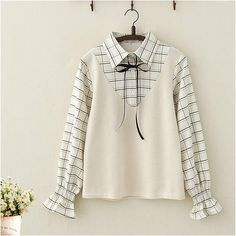 Get this Kawaii Korean Style Long Sleeve Shirt Top. This cute loose fake checkered polo and knitted sweater jacket for women is ideal for a formal look. Korean Fashion Trends, Korean Street Fashion, Fashion Ideas, Fashion Tips, Korean Dress, Korean Outfits, Girl Fashion, Fashion Dresses, Fashion Design