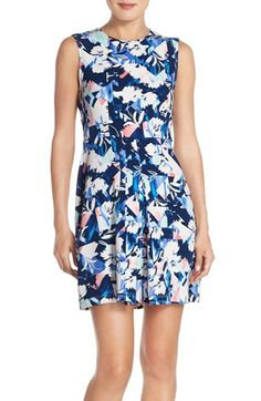 Charles Henry Graphic Stretch Crepe Fit & Flare Dress available at #Nordstrom