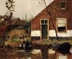 Piet Mondrian - Lavandières près du Canal (Bathers near the Canal), 1895-1900