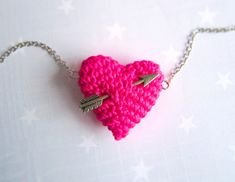 How cute is this for the girlies?Valentine Knit jewelryCrochet Neon Pink heart and by HoKiou, $49.00