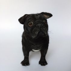 Custom Needle Felted Pug, pet portrait, dog sculpture by mikaelabartlettfelt on Etsy https://www.etsy.com/listing/280074686/custom-needle-felted-pug-pet-portrait