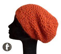 Baby Alpaca Beanie Hat PEARLY, Slouchy Beanie, Hand knit