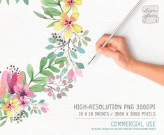 This bountiful spring floral watercolor wreath is hand painted with love. The fresh spring flowers look fantastic on wedding stationery, but of course is not limited to that. The artwork will be instantly available to you after your purchase. :::::::::::::::: This listing includes