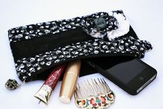 Gothic skulls lolita pleated Clutch Purse by ValkinThreads on Etsy