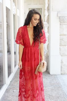 Red Lace Romper Maxi $60 - Sunshine & Stilettos Blog (Instagram: @katlynmaupin)
