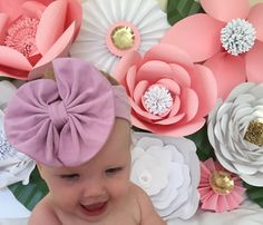 Baby Girl Large Bow Headband pink violet by NewportCoastAntiques Granddaughters, Grandchildren, Stretchy Headbands, Newborn Photography Props, Big Bows, Baby Showers, Cool Kids, Purple, Pink