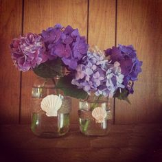 Twine wrapped mason jars and beautiful purple hydrangeas.  Anna's Life Travels: Katie's Beach Themed Bridal Shower