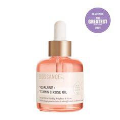 Squalane + Vitamin C Rose Oil - Biossance Vitamin C Oil, Rose Essential Oil, How To Apply Foundation, Best Moisturizer, Rose Oil, Cleansing Oil, Pink Bottle, Facial Oil, Even Skin Tone