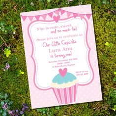 Cupcake Party Theme - Invitation Only - Cute Invitation for little girls birthday - Print this invitation at home. $15.00, via Etsy.