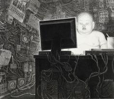 어두운 미래, 디스토피아: <디스토피아> 디스토피아 그림: 옛날부터 사람들은 기술 발전에 따른 미래의 모습을 항상 유토피아로 떠올리진 않는다. 디스토피아는 신화에만 있는 얘기가 아니다. 황폐한 환경, 감시, 컴퓨터와 로봇이 모든 해결하는 속에 뚱뚱해지고 이상한 모습이 된 인간. 예술가들은 이런 충격적인 디스토피아를 그리면서 사람들에게 경고의 메세지를 보내기도 한다.