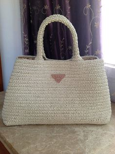 Prada style crochet bag raffia bag everyday bag by auntieshirley, $98.00