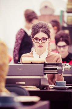 hair, red cat eye glasses, collar, sweater