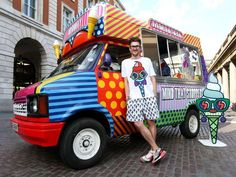 Henry Holland, founder and designer for House of Holland has come up with a unique pop up shop for his new capsule collection.  He purchased an ice cream truck, turned it into a pop up and will be taking it on a tour of England.  He kept the feel of an ice cream truck, but instead of ice cream cones, customers can line up to order clothes and accessories through the window.