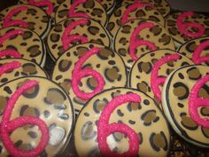 Leopard print 6th birthday cookies