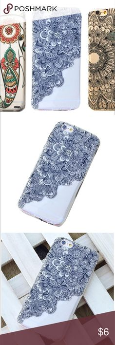 """iPhone 6/6S Plus (5.5"""") Plastic Case Compact, elegant, and lightweight. Hard Clare plastic cover with black henna floral design. It protects  your phone from dust, scratches, and abrasions. Accessories Phone Cases"""