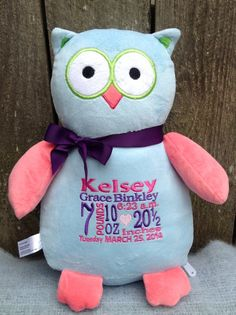Hello! Thank you for visiting our Etsy Shop!    This adorable Light Blue and Salmon Pink plush Owl can be PERSONALIZED for any occasion.